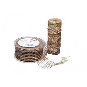 Embellishments / Verzierungen Jute maille ceinture, la nature, 50 mm, vendu au mètre