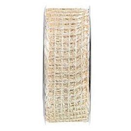 Embellishments / Verzierungen Jute bande de maille, réseau de bande, largeur 70 mm, crème, vendu au mètre