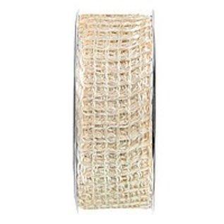 Embellishments / Verzierungen Jute mesh band, band netwerk, breedte 70 mm, crème, verkocht door de meter