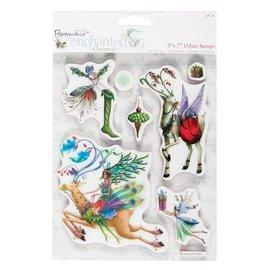 Docrafts / Papermania / Urban sellos de goma, temas de Navidad con renos nostálgica