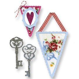 Sizzix Stempelen template, banners en sleutels