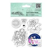 Docrafts / Papermania / Urban Tampon en caoutchouc, des roses, des papillons et des étiquettes