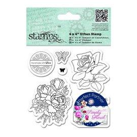 Docrafts / Papermania / Urban Timbro di gomma, rose, farfalle e Label