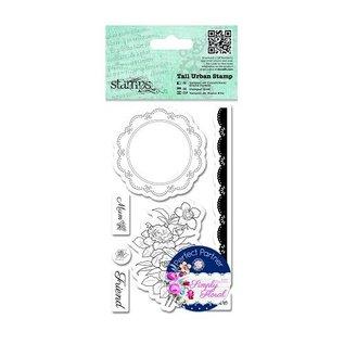 Docrafts / Papermania / Urban Timbri, rose, etichette centrino di pizzo e di frontiera