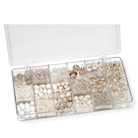 Schmuck Gestalten / Jewellery art Assortment box of glass beads, white