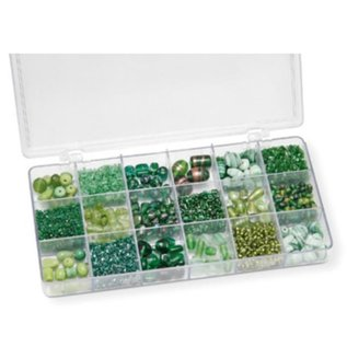 Schmuck Gestalten / Jewellery art Assortiment 21 x 10,5 x 2,4 cm met glaskralen, groen