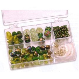 Schmuck Gestalten / Jewellery art Cuentas de vidrio verdes Schmuckbox surtido