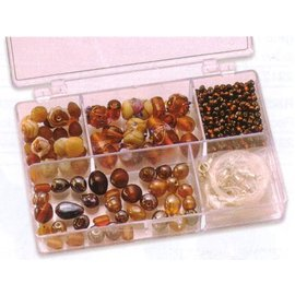 Schmuck Gestalten / Jewellery art Schmuckbox glass beads assortment brown