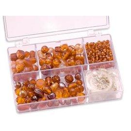 Schmuck Gestalten / Jewellery art Schmuckbox glazen kralen assortiment oranje