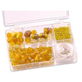 Schmuck Gestalten / Jewellery art Schmuckbox glazen kralen assortiment geel