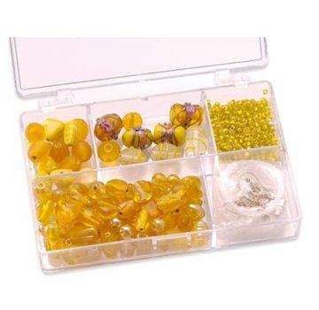 Schmuck Gestalten / Jewellery art Perle di vetro Schmuckbox assortimento giallo