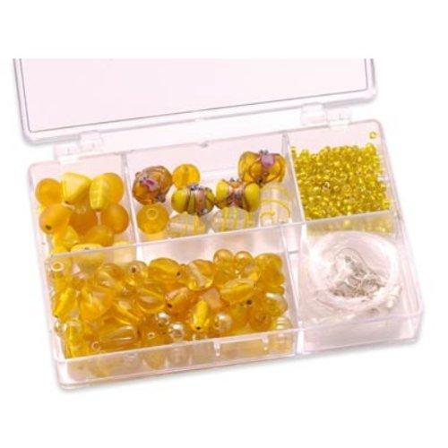 Schmuck Gestalten / Jewellery art Schmuckbox Glasperlensortiment gelb