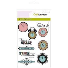 Craftemotions Transparente sellos Tema: Tiempo