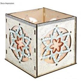 Objekten zum Dekorieren / objects for decorating Bois Bastelset tealights titulaire, avec motif en étoile, 9,5x9,5x10cm, avec 15 étoiles