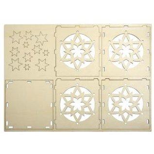 Objekten zum Dekorieren / objects for decorating Tealights legno supporto Bastelset, con motivo a stella, 9,5x9,5x10cm, con 15 stelle