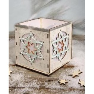Objekten zum Dekorieren / objects for decorating Houten Bastelset theelichtjes houder, met ster motief, 9,5x9,5x10cm, met 15 sterren