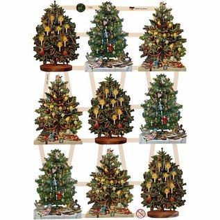 Bilder, 3D Bilder und ausgestanzte Teile usw... Traditionelle Glanzbilder mit wunderschönem Druckmotiv : Vintage Weihnachtsbäume