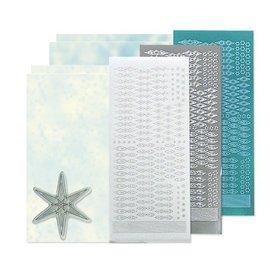 Sticker Bastelset: Star sticker stempel set, zilver, wit en blauw