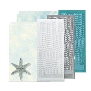 STICKER / AUTOCOLLANT Bastelset: Star sticker stempel set, zilver, wit en blauw