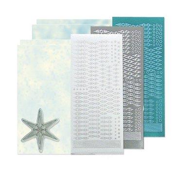 Sticker Bastelset: Star mærkat stempel sæt, sølv, hvid og blå