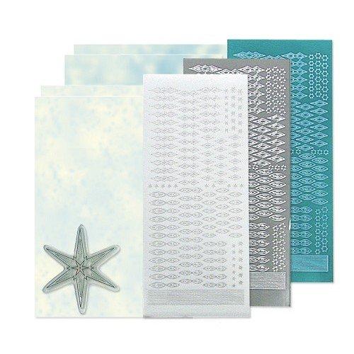 Sticker Bastelset: Star vignette timbre ensemble, argent, blanc et bleu