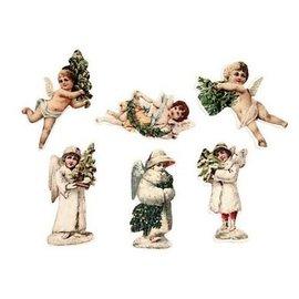 Embellishments / Verzierungen 6 Engelchen, aus holz