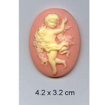 Embellishments / Verzierungen 1 camée acrylique avec des anges
