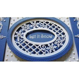 CREATIVE EXPRESSIONS und COUTURE CREATIONS Ponsen en embossing sjablonen, Kerstmis Thema: frame met kant en sneeuwvlokken