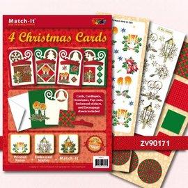 BASTELSETS / CRAFT KITS Bastelset: 4 Cartoline di Natale