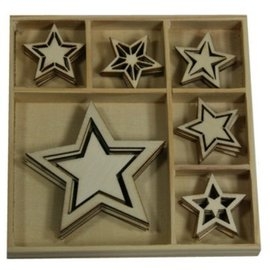 Objekten zum Dekorieren / objects for decorating Madera Adorno Box, Star 30 partes