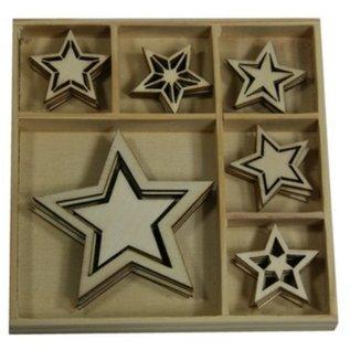 Objekten zum Dekorieren / objects for decorating Hout Ornament Box, Star 30 delen