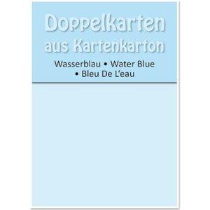 KARTEN und Zubehör / Cards 5 cartes doubles A6, bleu d'eau, 250 g / m²