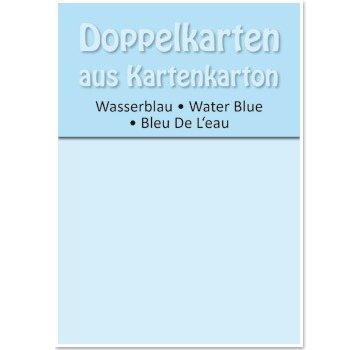 KARTEN und Zubehör / Cards 5 Doppelkarten A6, wasserblau, 250 g / qm