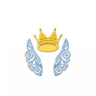 Spellbinders und Rayher Cutting en embossing stencils, De D-Lites, vleugels en kroon