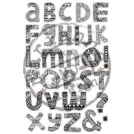 Stempel / Stamp: Transparent Gummistempel, doodle, brev