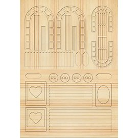 Embellishments / Verzierungen Die cut sheets Gartenzaeune, trellises, light brown