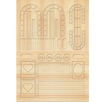 Embellishments / Verzierungen Die cut sheets Gartenzaeune, trellises, light brown