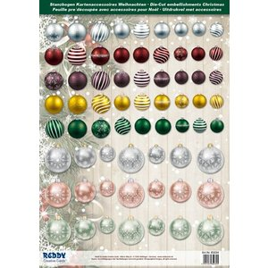 Embellishments / Verzierungen Goed idee! Die losse vellen met kerstballen van 250g karton, A4