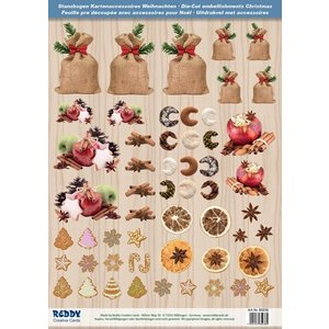 Embellishments / Verzierungen Punching bow with Christmas biscuits, baking tray made of 250g cardboard, size A4