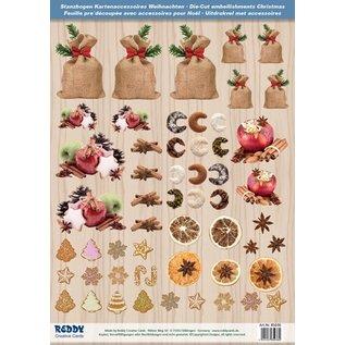Embellishments / Verzierungen Stanzbogen mit Weihnachtsgebaeck, Brataepfel aus 250g Kartenkarton, Format A4