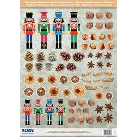 Embellishments / Verzierungen Die losse vellen met notenkrakers, gedroogd fruit van 250g karton, A4