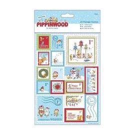 Sticker A5 Sæt med 32 frimærker linned tekstur