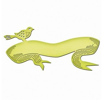 Spellbinders und Rayher Taglio e goffratura stencil, modello in metallo Inspire, Uccello Banner