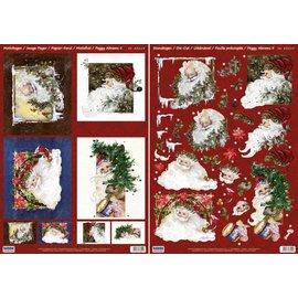 Bilder, 3D Bilder und ausgestanzte Teile usw... Kerstkaarten Set: 3D Die losse vellen, Santas, met inbegrip van 4 dubbele kaarten