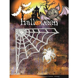 Yvonne Creations Stampen en Embossing stencil, Yvonne Creations, Halloween Spinneweb