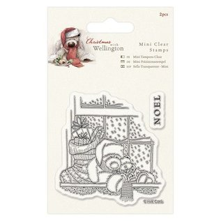 Papermania Transparent Stempel, Weihnachtsteddy Wellington am Fenster