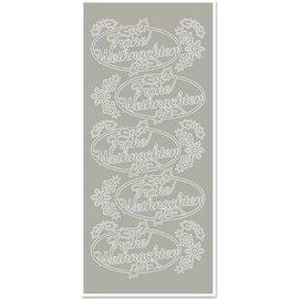 STICKER / AUTOCOLLANT Sticker, Merry Christmas, zilver-zilver