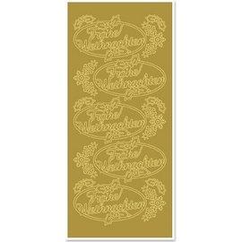 STICKER / AUTOCOLLANT Sticker, Merry Christmas, gold