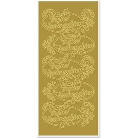 STICKER / AUTOCOLLANT Sticker, Merry Christmas, goud