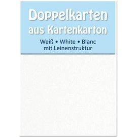 KARTEN und Zubehör / Cards 5 Satin-Doppelkarten A6, beidseitig satiniert mit Leinenstruktur